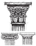 Column capitals. Corinthian, Ionic, and Doric capital sketches Royalty Free Stock Image