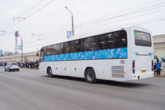 Column cars participating in the Paralympic Torch Relay. TVER, RUSSIA - MARCH 2, 2014: Column cars participating in the Paralympic Torch Relay. Paralympic Torch Royalty Free Stock Images
