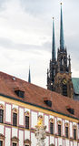 Column and Cathedral of St Peter and Paul in Brno Stock Photos