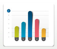 Column chart, graph pointing on the first position comparing with the others. Simply color editable. Stock Images