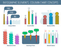 Column chart infographic elements. Infographic elements. Column chart set. Infographic vector flat design template, icons, symbols. Office and business Royalty Free Stock Image