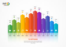 Column chart infographic template with 12 options. Stock Image