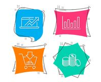 Column chart, Sales diagram and Shopping icons. Banking money sign. Set of Column chart, Sales diagram and Shopping icons. Banking money sign. Financial graph Stock Photography