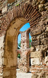 Column of the Church of St. Sophia. View of the tower of the church of Saint Sophia through the archway. Nessebar. Bulgaria Stock Photos
