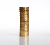 Column of coins on white Stock Photography