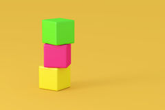 Column of colorful cubes. 3D rendering of colorful cubes arranged in column Stock Images