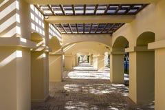 Column corridor pergola in hotel Royalty Free Stock Photo