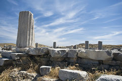 Column in Delos. Antique column in delos, an ancient isle, greece Royalty Free Stock Images