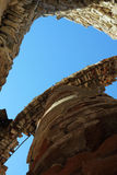 A column in a destroyed temple. Looking ahead into the sky Royalty Free Stock Photo