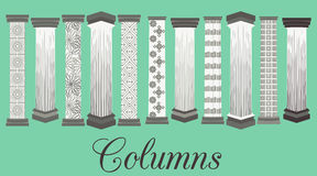 Column. Doric, Roman style. Set columns with patterns. Royalty Free Stock Photos