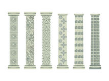 Column. Doric, Roman style. Set of columns. Vector illustration. Stock Photography