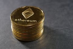 Column of ethereum coins. Virtual crypto currency concept. Stock Images