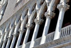 Column facade of the Ducal Palace in Venice, Italy Stock Image