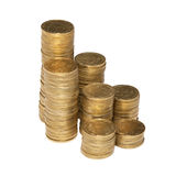 Column of golden coins Stock Image