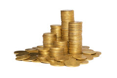 Column of golden coins Stock Photo