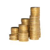 Column of golden coins Royalty Free Stock Image