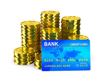 Column of golden coins and credit card Royalty Free Stock Photo