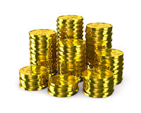 Column of golden coins isolated on white Royalty Free Stock Image