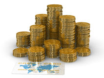 Column of golden coins isolated on white. Royalty Free Stock Photo