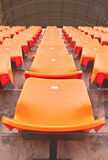 Column of grandstand seat in a stadium Royalty Free Stock Photo