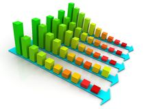 Column graph 3d. Graph showing decrease in profits or earnings in 3D Stock Photo