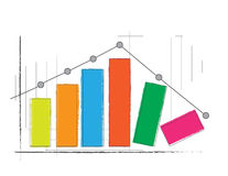 Column Graph. Bar graph with a graph showing the increase in the beginning and then decreased later Stock Photos