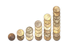 Column graph made of money Royalty Free Stock Photography
