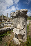 Column with Greek Text at Perga in Turkey Stock Photos
