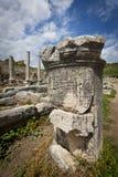 Column with Greek Text at Perga in Turkey Stock Photos
