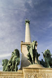 Column in Heroes square, Budapest Stock Photo