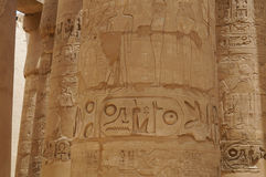 COLUMN HIEROGLYPHS KARNAK TEMPLE Royalty Free Stock Images