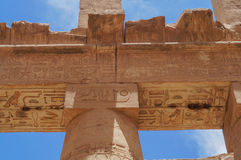 COLUMN HIEROGLYPHS KARNAK TEMPLE Stock Photos