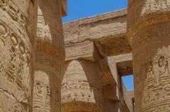 COLUMN HIEROGLYPHS KARNAK TEMPLE Egypt Stock Image