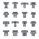 Column icons. Ancient columns vector icon set. Vector black column icons set on white background Stock Photography