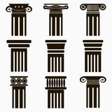 Column icons. Set of ancient architecture pillars. Vector. Column icons. Set of ancient architecture pillars. Vector illustration Royalty Free Stock Images