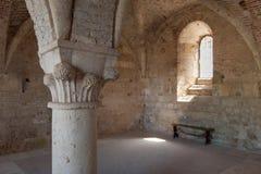 Column inside San Galgano Abbey Stock Image