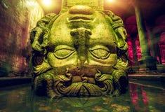 Column with inverted Medusa head Stock Photos