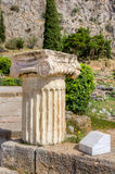 Column with Ionic capital in Delphi, Greece Stock Photo