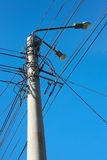 Column with lanterns electric wires Royalty Free Stock Photos