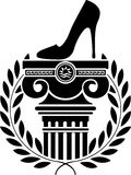 Column, laurel wreath and women's shoe Stock Photo