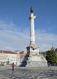 Column of lisbon, europe. In the historic center of Lisbon, Europe, the Column of the rossio place Stock Photography