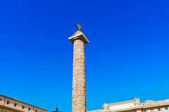 Column of Marcus Aurelius at Piazza Colonna in Rome, Italy. Stock Images