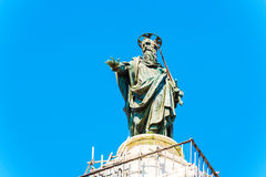 Column of Marcus Aurelius at Piazza Colonna in Rome, Italy. Stock Image