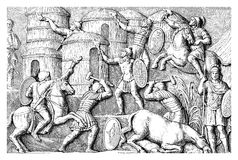 Column of Marcus Aurelius in Rome: Destruction of a village. Vintage engraving representing the destruction of a German village by hand of Roman soldiers, scene Stock Photography