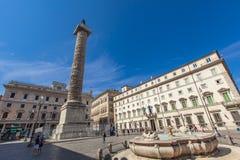 Column of Marcus Aurelius in Rome Stock Image