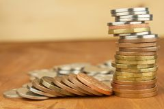 Column of metal coins. The concept of saving. Coins stacked on each other Stock Photography
