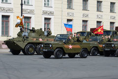 A column of military equipment before the rehearsal of the Victory Day Parade Stock Images