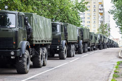 A column of military trucks. Independence Day, parade Minsk, Belarus. royalty free stock image