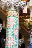 Column in modernist style in Palau de la Música Catalana, Barcelona, Spain. Pillar in Palau de la Música Catalana, Barcelona, Spain, Europe. Floral mosaic stock image