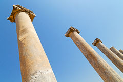 Column in old  temple   in ephesus   sky  the Royalty Free Stock Photography